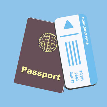 Brown passport with blue paper boarding pass plane ticket on blue background
